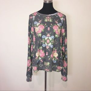 Wildfox Cozy Rose Garden Floral Pullover Sweater